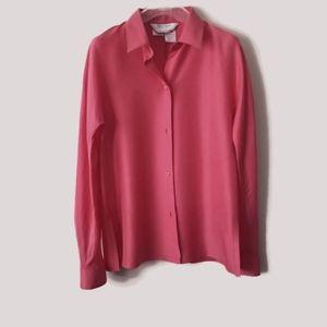 MaxMara blouse wild silk coral pink sz 8